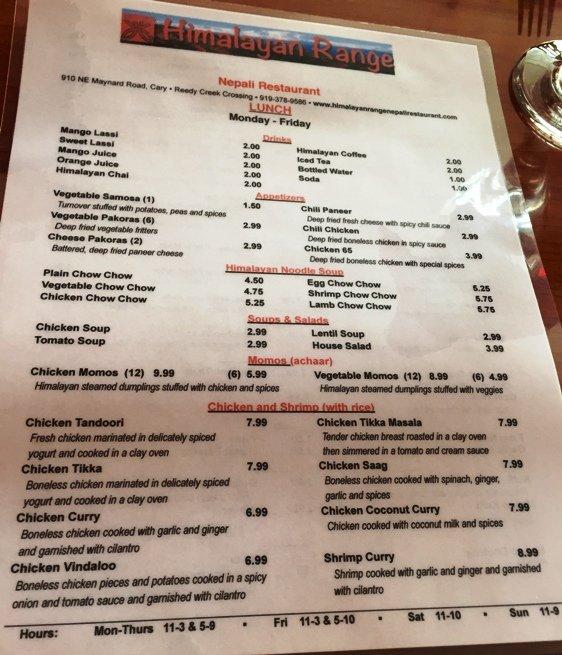 Himalayan Restaurant Toronto Menu
