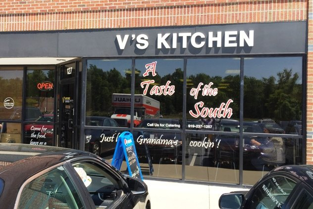 Front of V's Kitchen in Durham- NC Triangle Dining