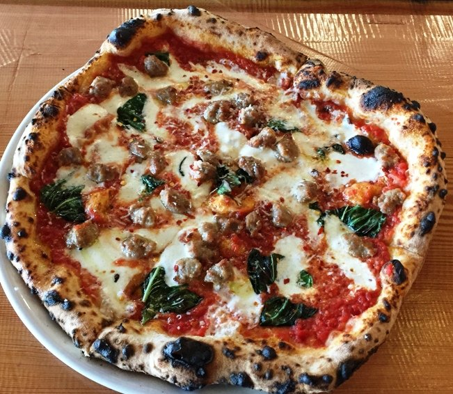 Margherita pie with sausage at Tre Forni in Durham- NC Triangle Dining