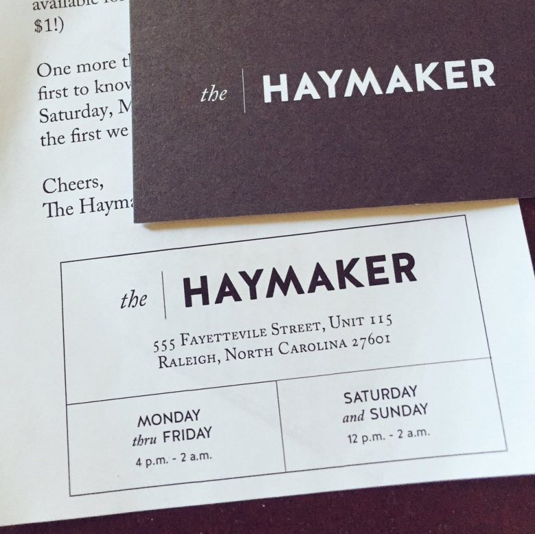Invite to the Haymaker bar in Raleigh- NC Triangle Dining