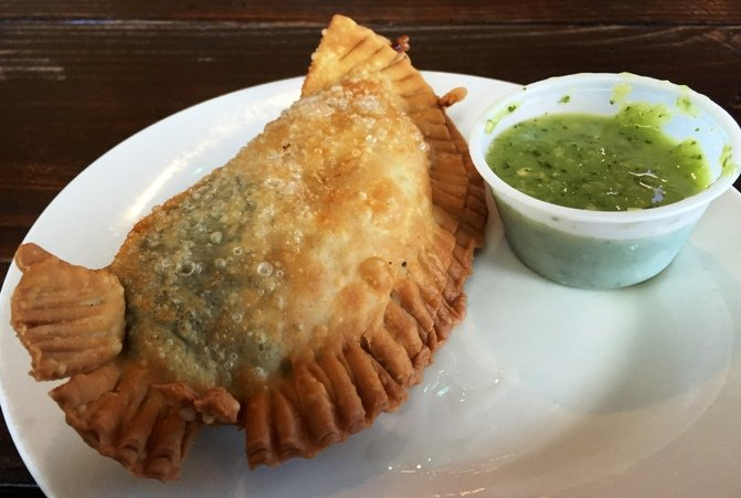 Spinach and cheese empanada at Tropical Picken Chicken in Raleigh- NC Triangle Dining