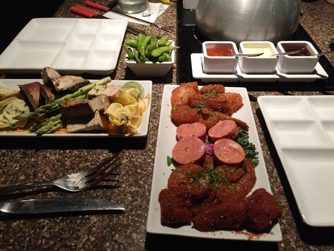 Veggies and meats for dipping at Melting Pot in Raleigh- NC Triangle Dining