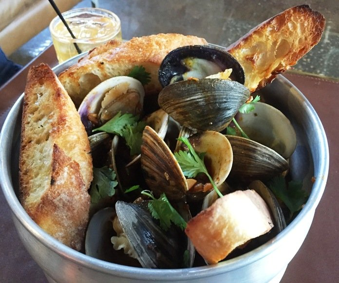 Steamed littleneck clams at Whiskey Kitchen in Raleigh- NC Triangle Dining