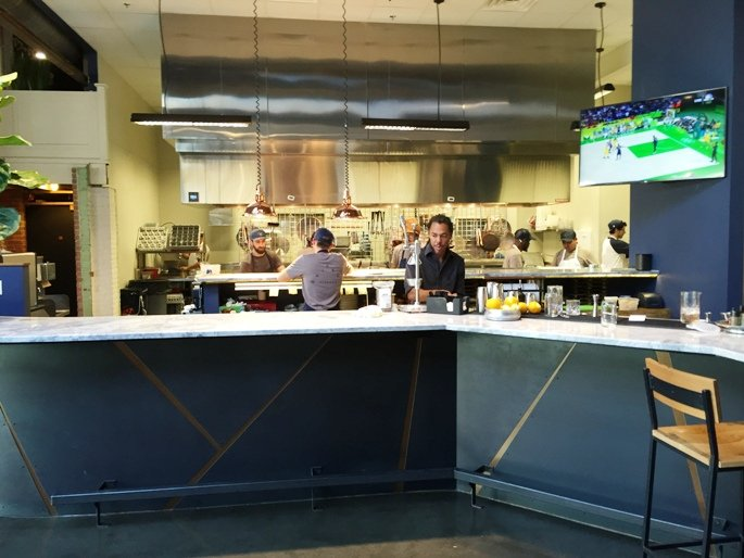 Bar and kitchen at Whiskey Kitchen in Raleigh- NC Triangle Dining