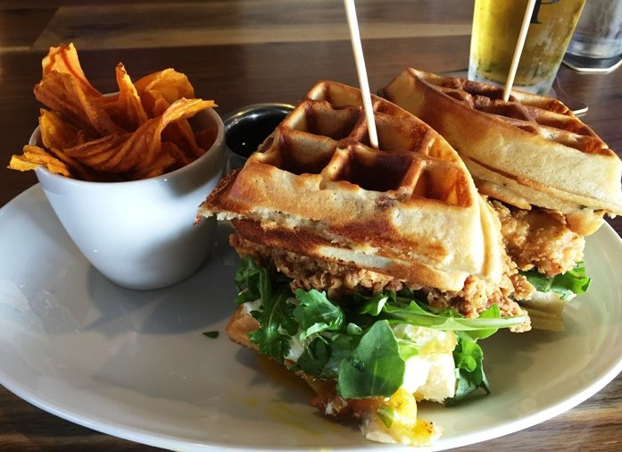 Fried chicken waffle sandwich at Parkside Restaurant in Raleigh- NC Triangle Dining