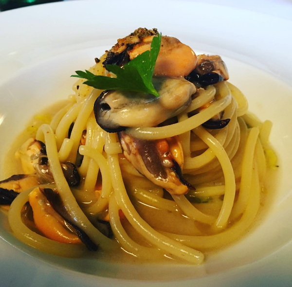 Spaghettioni benedetto cavalieri with smoked mussels in Italy on Instagram - NC Triangle Dining