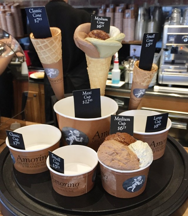 Gelato serving options at Amorino Gelato in Raleigh - NC Triangle Dining