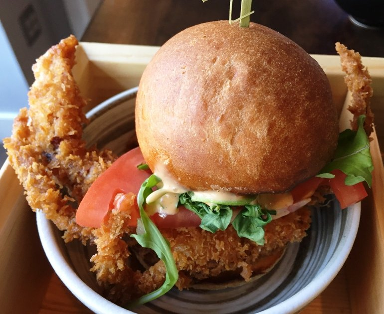 Soft-shell crab slider at City Market Sushi, Raleigh - NC Triangle Dining