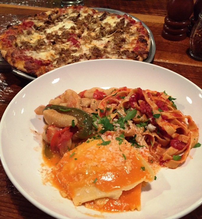 Sausage-fennel pizza and pasta bowl at the Boot in Durham - NC Triangle Dining