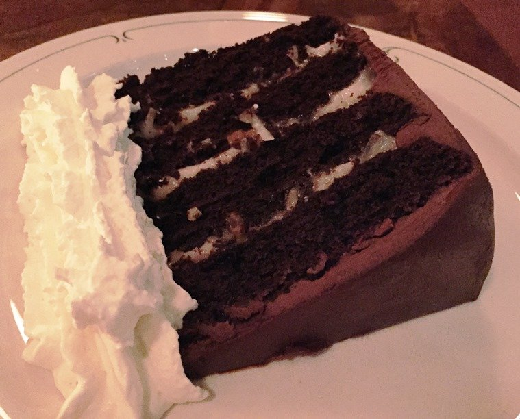 German chocolate cake at Bar Virgile in Durham - NC Triangle Dining