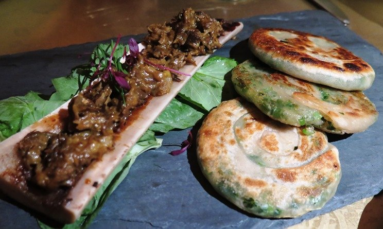 Scallion pancakes with marrow at Brewery Bhavana in Raleigh - NC Triangle Dining