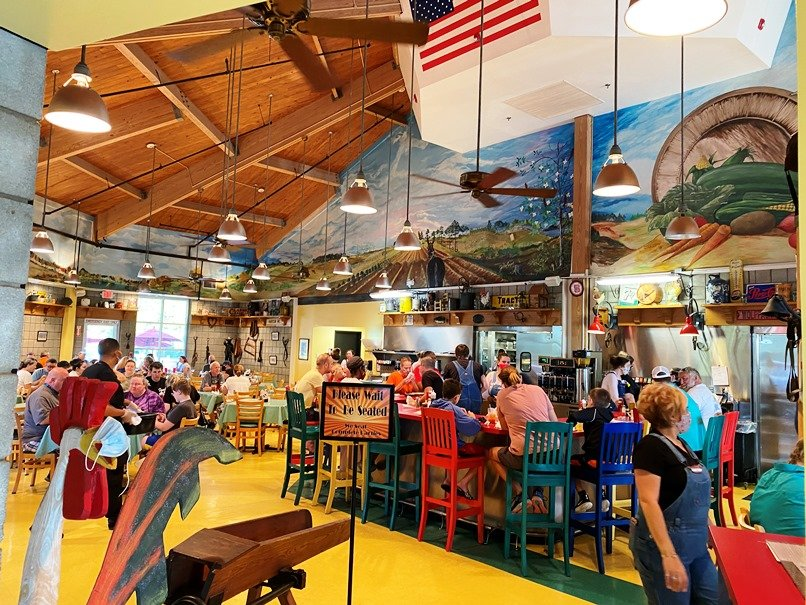 Interior of NC State Farmers Market Restaurant in Raleigh- nctriangledining.com