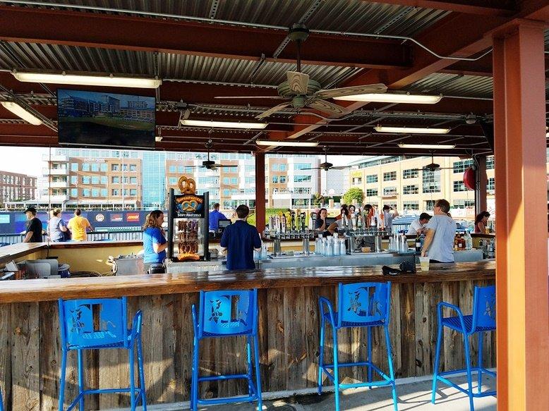 Bar in right field at Durham Bulls ballpark - nctriangledining.com