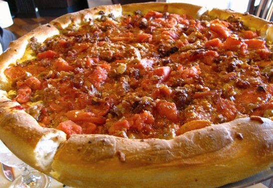 Deep dish pizza at Rosati's, Raleigh- NC Triangle Dining