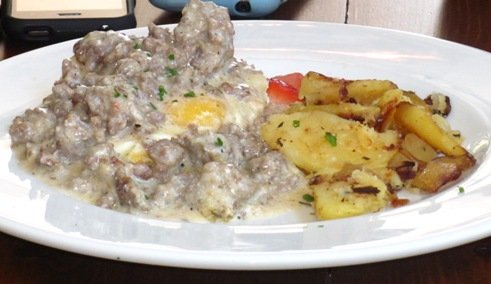Sausage and gravy for brunch at Capital Club 16 in Raleigh- NC Triangle Dining
