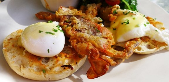 Crab benedict at Acme Restaurant in Carrboro- NC Triangle Dining