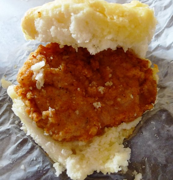 Chicken biscuit from Sunrise Biscuit Kitchen in Chapel Hill, NC Triangle Dining