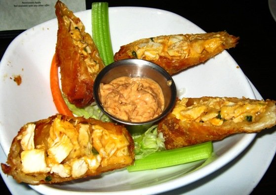 Buffalo chicken eggrolls at Tobacco Road Sport in Durham, NC Triangle Dining