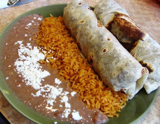 Burrito plate Pollo at Los Cuates in Raleigh, NC Triangle Dining