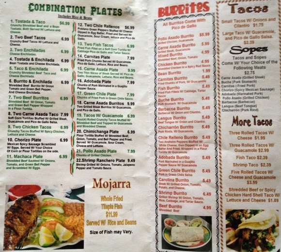 Menu at Los Cuates in Raleigh, NC Triangle Dining