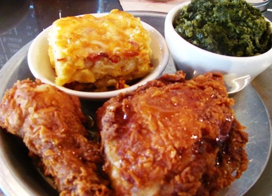 Fried chicken plate with mac n cheese and collards at Beasley's in Raleigh- NC Triangle Dining