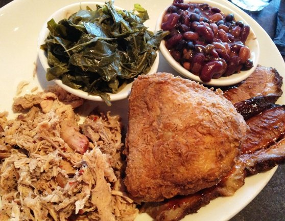 Three meat plate from the Pit in Raleigh, NC Triangle Dining