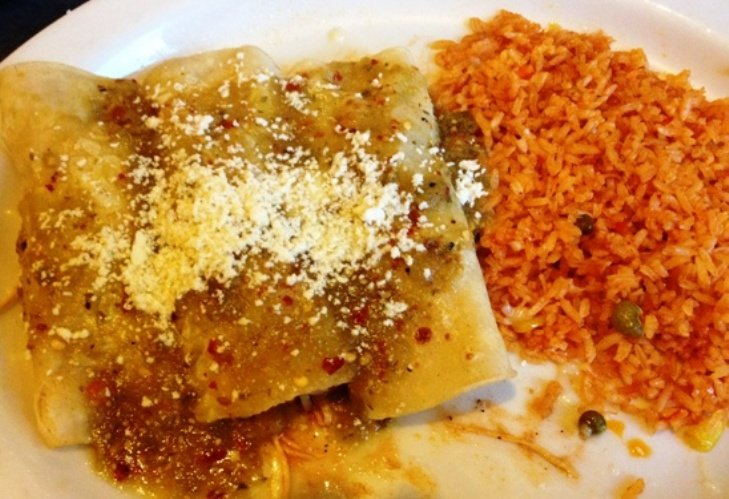 Enchiladas suiza at El Rodeo in Raleigh, NC Triangle Dining