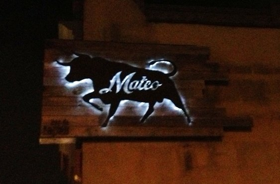 Cool Mateo sign on the building for Mateo Tapas in Durham, NC Triangle Dining