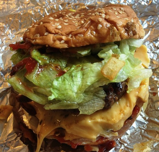 Cheeseburger at Five Guys in Cary, NC Triangle Dining