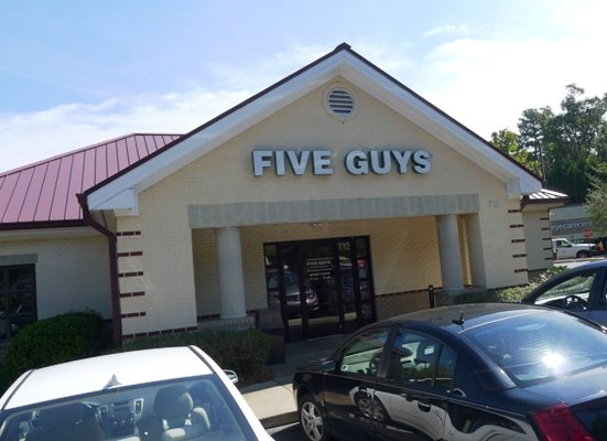Front of Five Guys in Cary - NC Triangle Dining