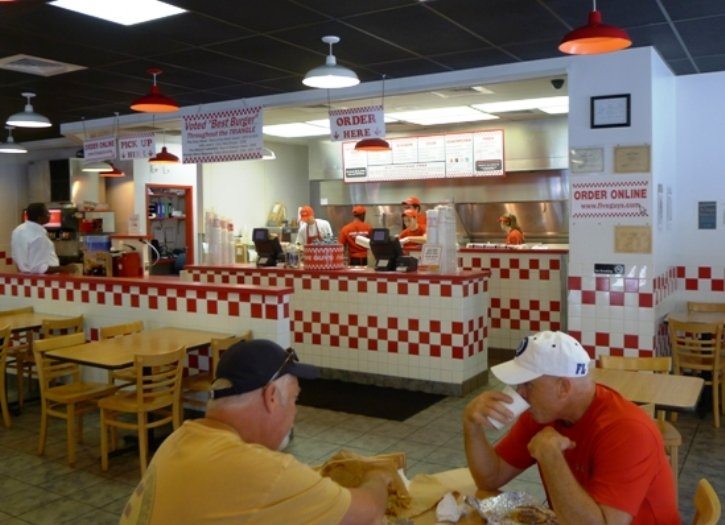 Order counter at Five Guys in Cary - NC Triangle Dining