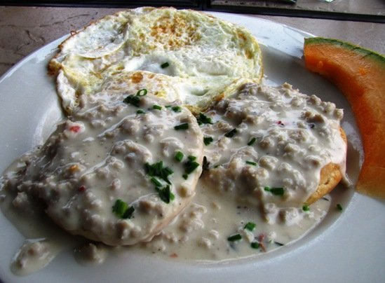 Biscuits with sausage gravy at Humble Pie, Raleigh- NC Triangle Dining