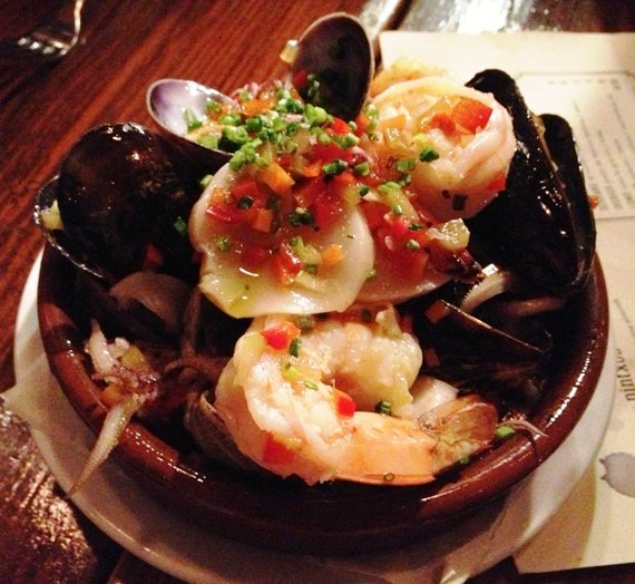 Shrimp and mussels at Mateo Tapas in Durham, NC Triangle Dining