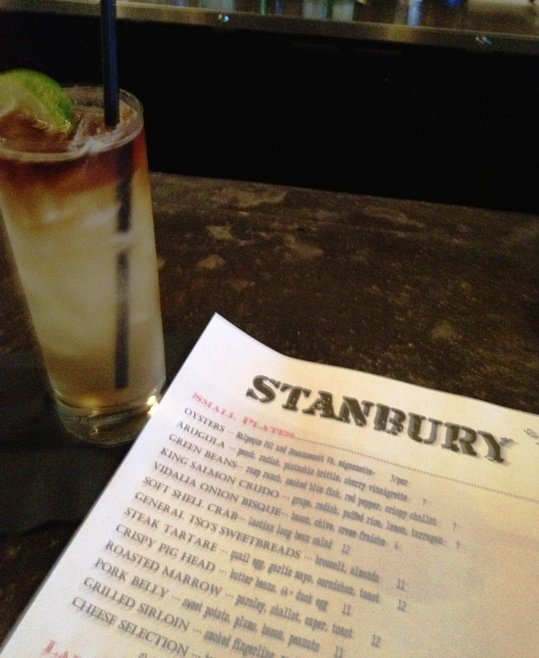 Cocktail and menu at the Stanbury in Raleigh- NC Triangle Dining