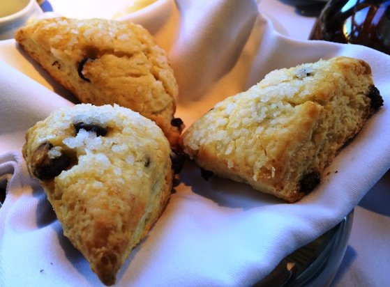 Chocolate chip scones at Herons in Cary, NC Triangle Dining