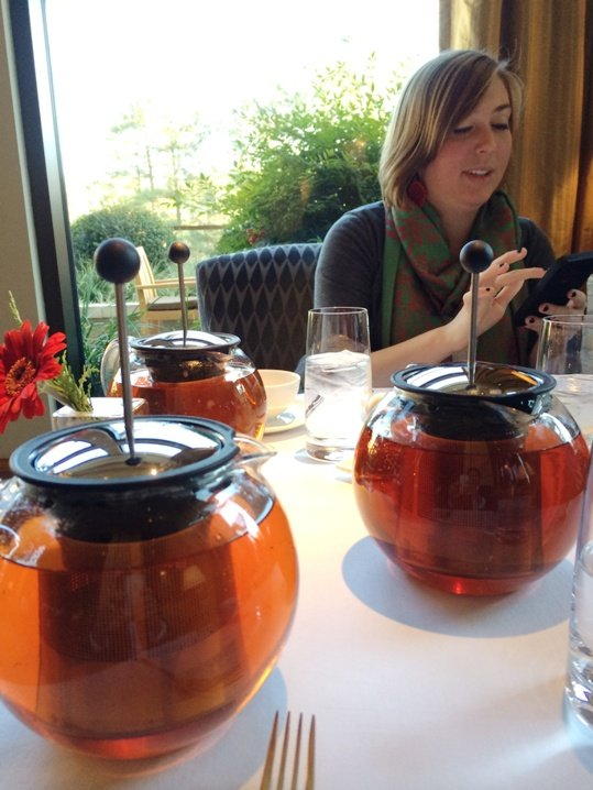 Kristen and our pots of tea at Herons in Cary, NC Triangle Dining