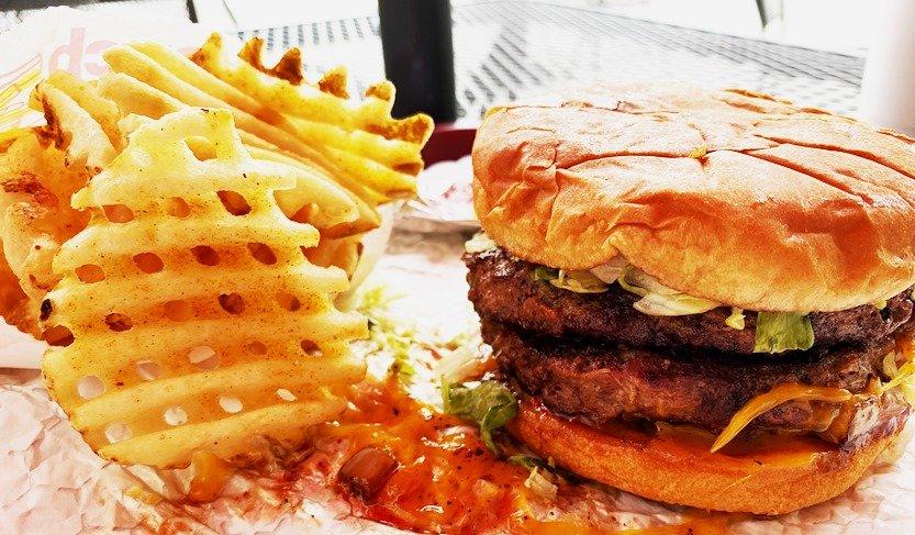 Waffle fries and burger at Corbett's Burgers & Soda Bar, Cary- nctriangledining.com