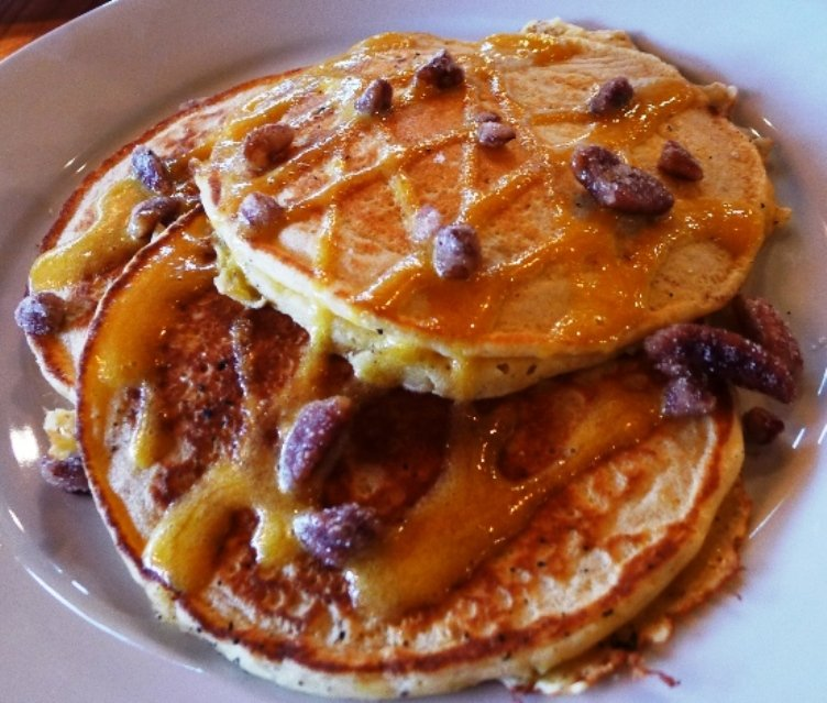 Passion fruit pancakes at Plates Neighborhood Kitchen in Raleigh, NC Triangle Dining