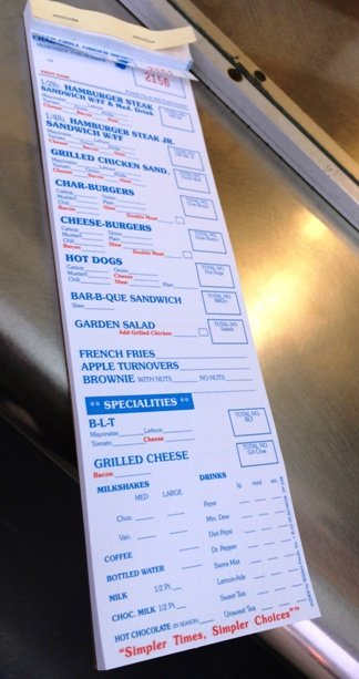 Order slip at Char-Grill, Raleigh- NC Triangle Dining