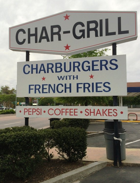 Sign out front of Char-Grill, Raleigh- NC Triangle Dining