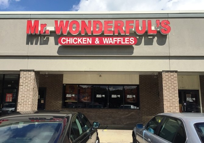 Front of Mr Wonderful's Chicken & Waffles, Raleigh- NC Triangle Dining