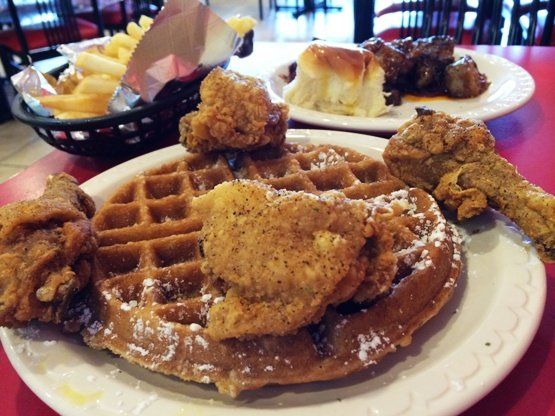 Caloric meal at Mr Wonderful's Chicken & Waffles, Raleigh- NC Triangle Dining