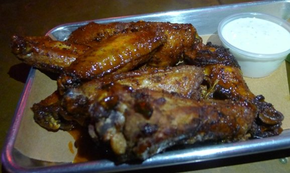 Smoked wings with rooster sauce at Blue Oak BBQ, New Orleans- NC Triangle Dining