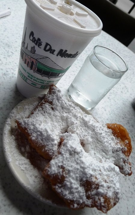 Coffee and beignet at Cafe Du Monde, New Orleans- NC Triangle Dining
