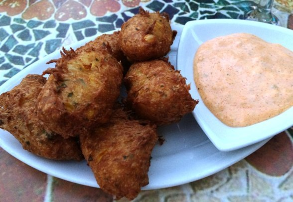 Corn-crab beignets at Plates in Raleigh, NC Triangle Dining