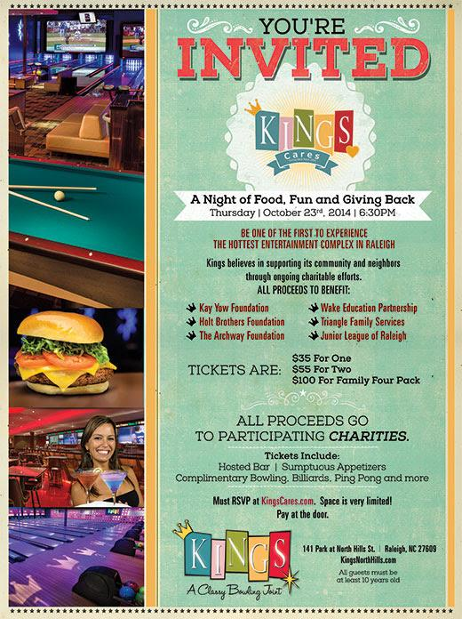 Flyer for Kings Cares, North Hills- NC Triangle Dining
