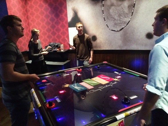 Quad air hockey at Kings Bowl North Hills in Raleigh- NC Triangle Dining