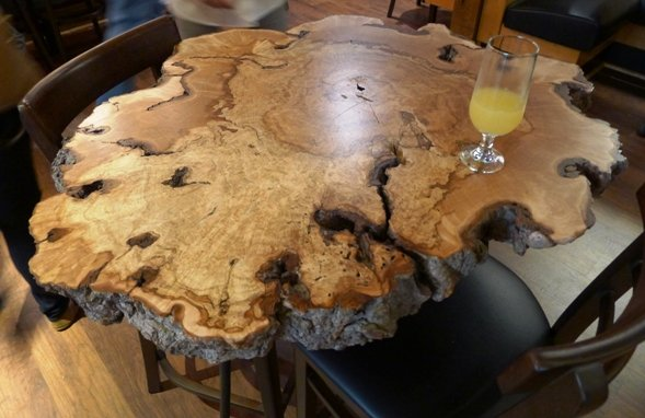 Tree trunk x-section at Tupelo Honey Cafe, Raleigh- NC Triangle Dining