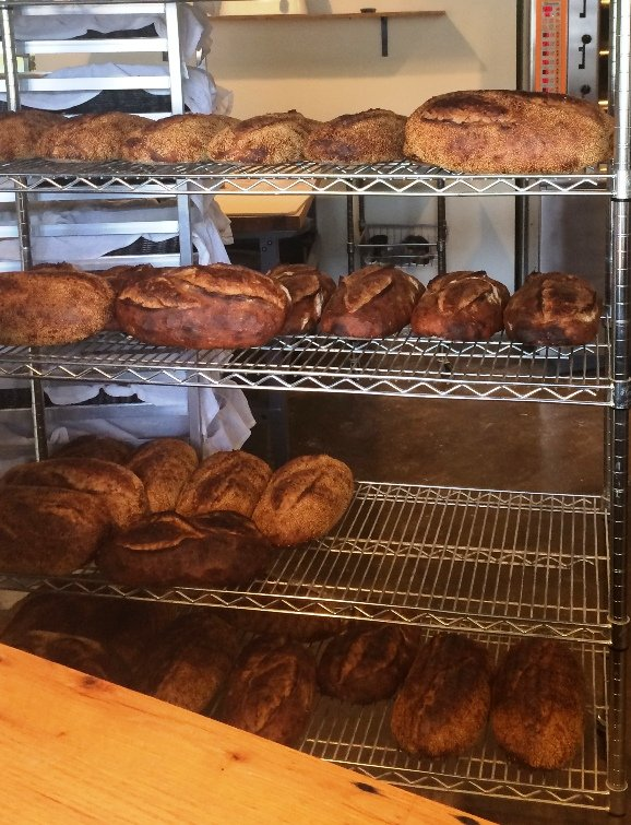 Bread rack at Boulted Bread, Raleigh- NC Triangle Dining