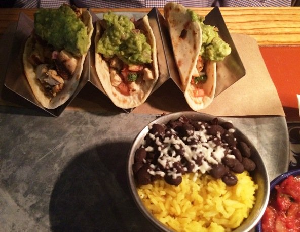 Taco plate at Totopos in Cary- NC Triangle Dining